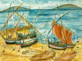 Spanish boats watercolour