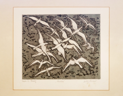 Seagulls colour etching