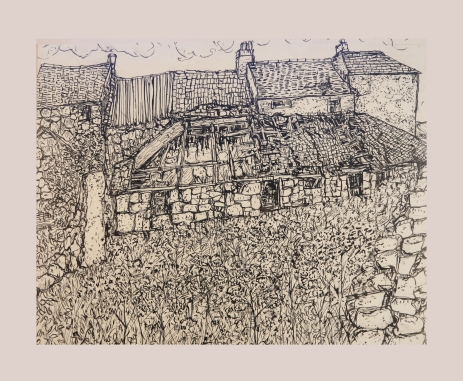 Ruined farm pen and ink