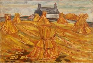 Hay stooks Oil 1948