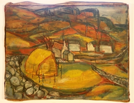Valley with hayrick oil 1948