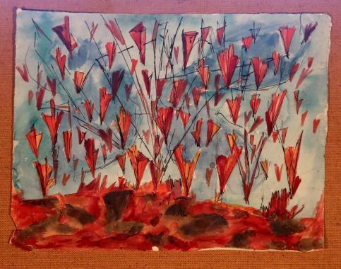 Rain of Fire Watercolour 1944