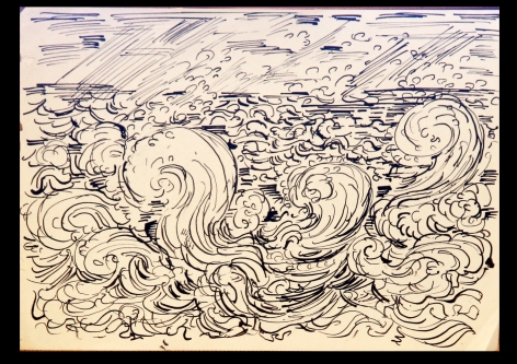 Waves-pen and ink