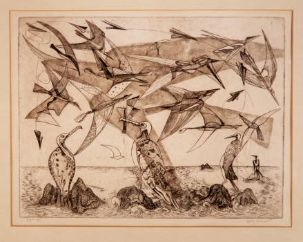 Birds of War etching and engraving 1949