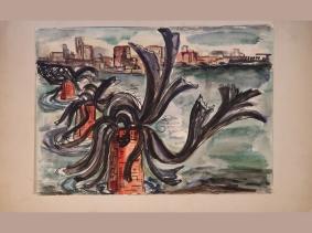 Cologne Destroyed Bridge Watercolour 1946