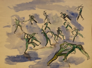 Commando Training sketch in ink and wash 1943
