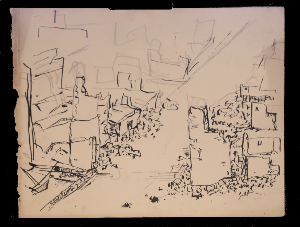 Hamburg ruins drawing 1946