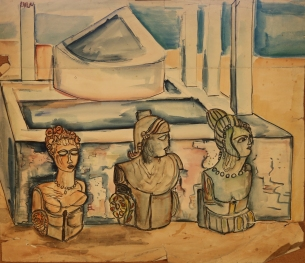 three figure heads watercolour