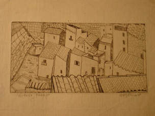 Spanish Roofs-etching 1930s