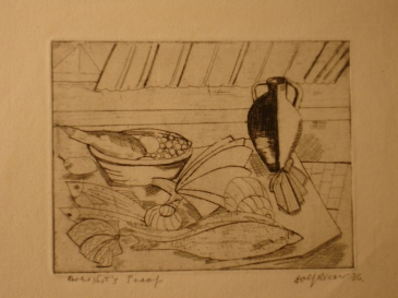 Still life with fish etching