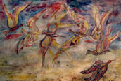War in the Air Plaster painting 1950
